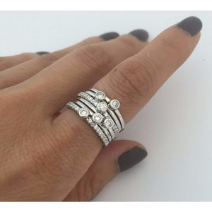 6 Stacking Band Rings - Cubic Zirconia Sterling Silver Rhodium