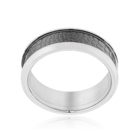 Image of Rings $39.80 8mm Animal Print Band Stainless Steel Rhodium Plated JGI 8mm animal band black mens