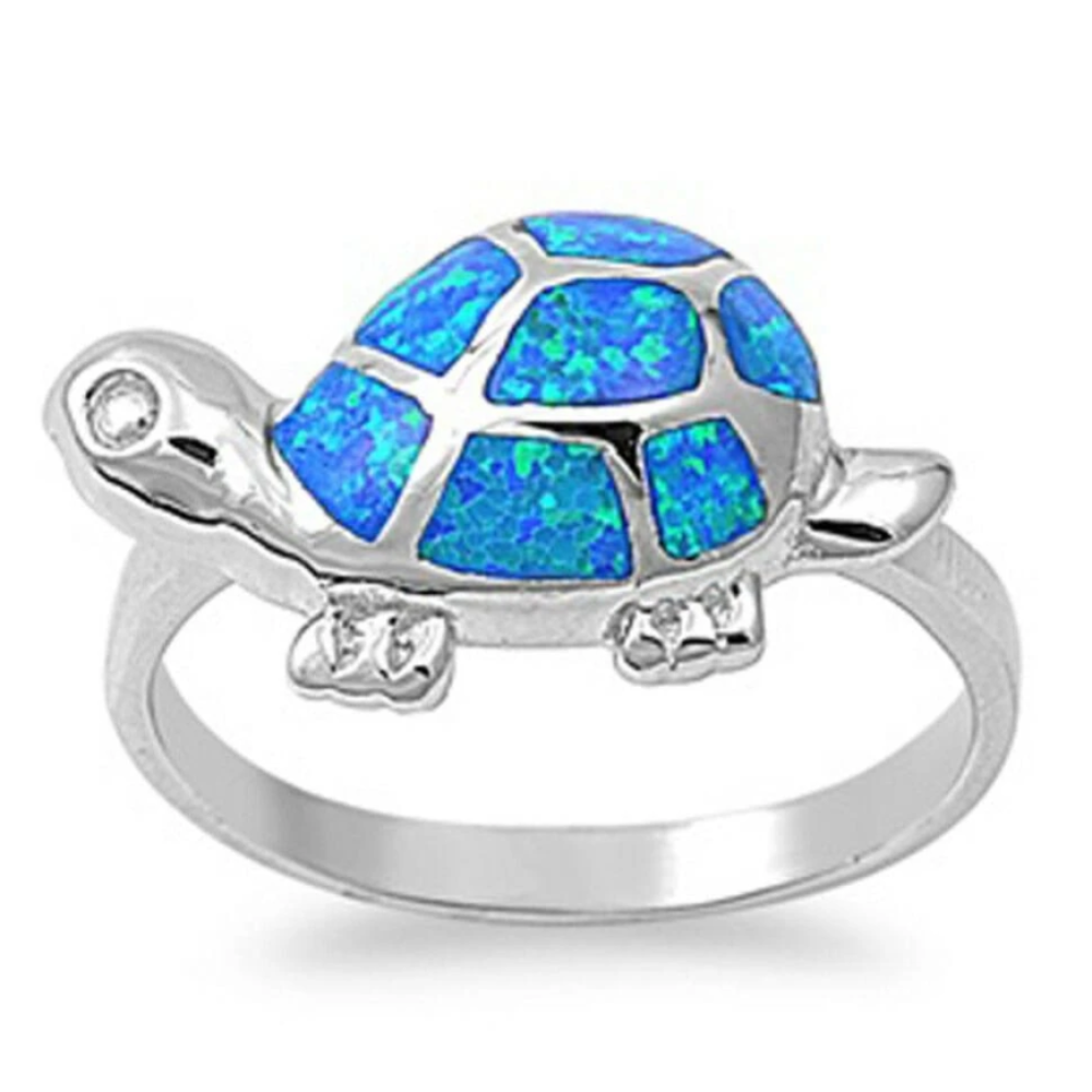 Rings $40.51 Adorable Turtle with Blue Simulated Opal and CZ Stones Set in Sterling Silver Band 25-50 animal badge-toprated blue clear