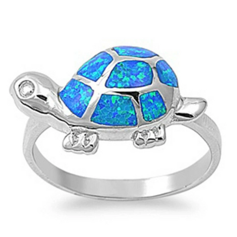 Image of Rings $40.51 Adorable Turtle with Blue Simulated Opal and CZ Stones Set in Sterling Silver Band 25-50 animal badge-toprated blue clear