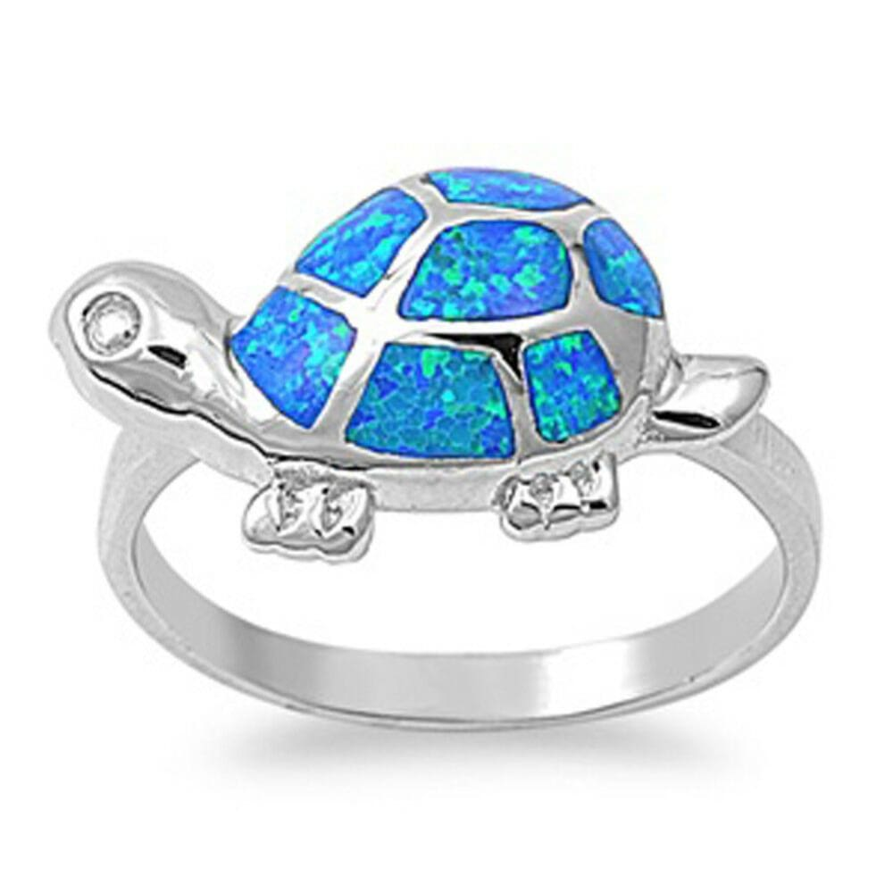 Rings $40.51 Adorable Turtle with Blue Simulated Opal and CZ Stones Set in Sterling Silver Band blue clear cubic-zirconia cz opal