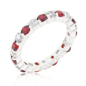 Rings $50.20 Alternating Garnet Red Cubic Zirconia 3 mm Eternity Band JGI 3mm band cz eternity red