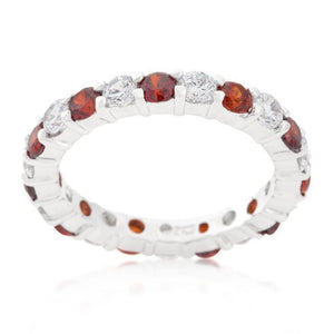 Alternating Garnet Red Cubic Zirconia 3 mm Eternity Band JGI