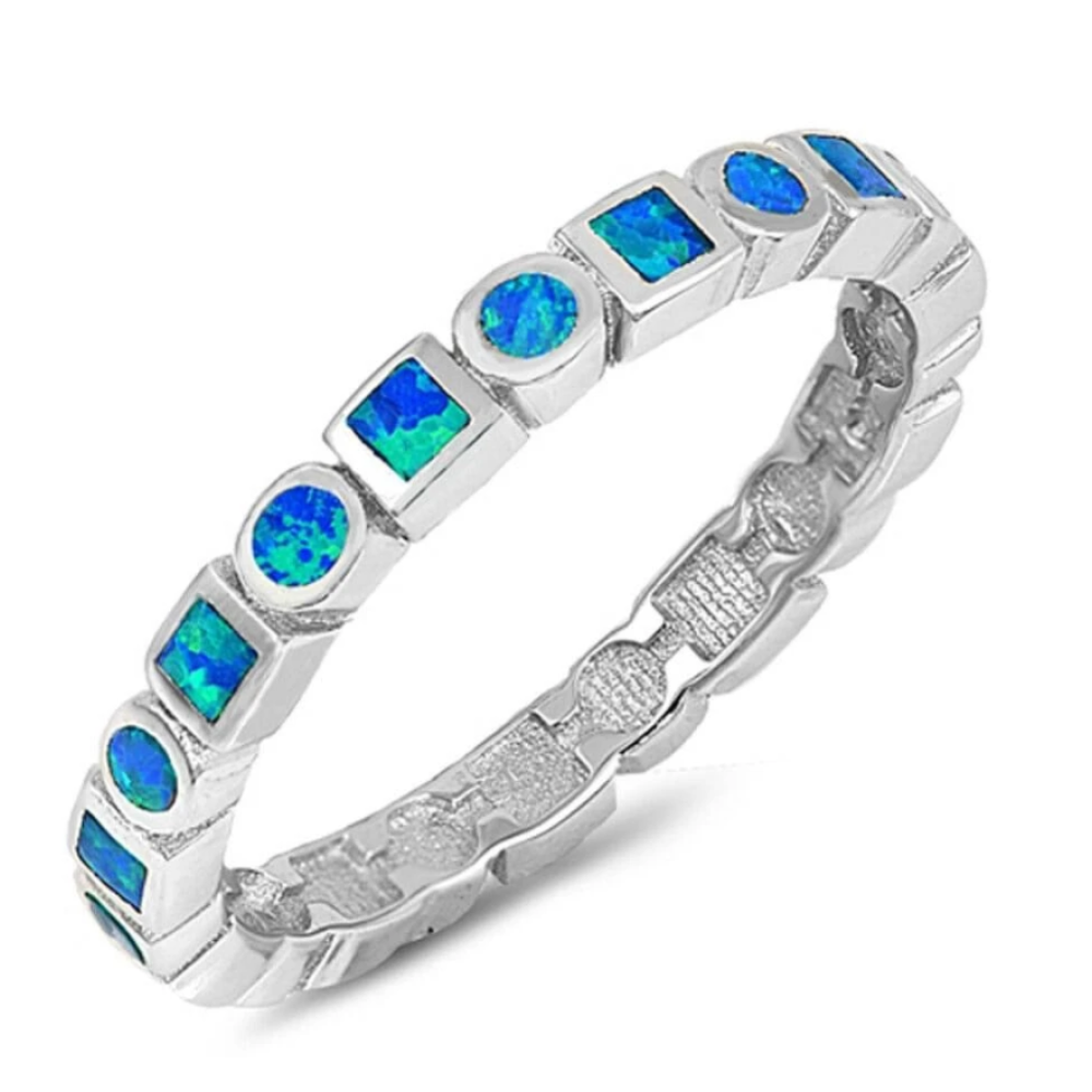 Rings $43.99 Alternating Round and Square Eternity Band of Blue Opal Sterling Silver Band 25-50 badge-toprated band blue eternity
