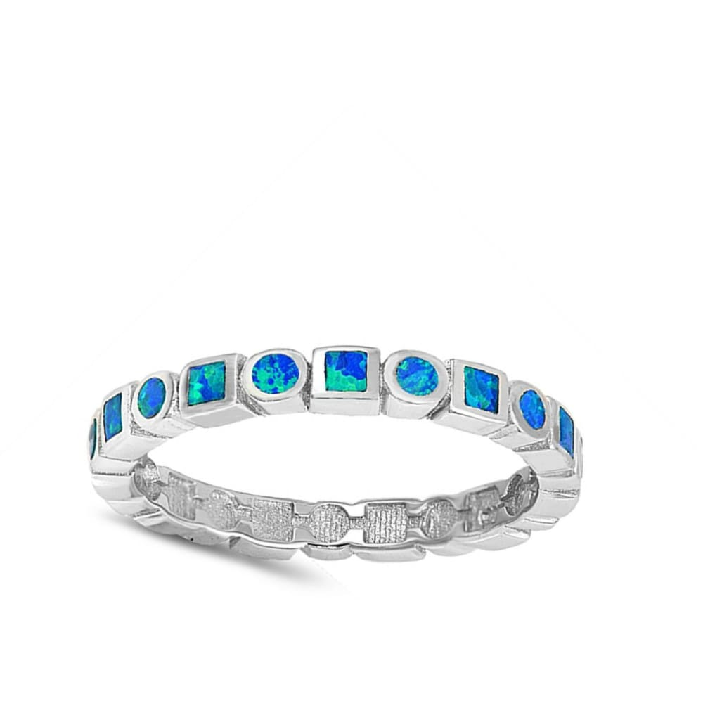 Rings $43.99 Alternating Round and Square Eternity Band of Blue Opal Sterling Silver Band band blue eternity opal