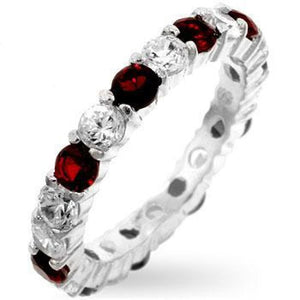 Rings $33.30 Alternating Ruby Red Eternity Sparkle 3mm Band of Cubic Zirconia JGI 3mm cz eternity red rhodium