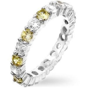 Rings $31.35 Alternating Yellow Sparkle Eternity 3mm Band Size 10 JGI 3mm band cz eternity rhodium