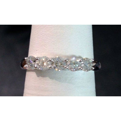 Rings $999.99 Amazing 5 Diamond Band - 14K White Gold Diamond Ring - 5 Year Anniversary Wedding Band Band Rg Yg
