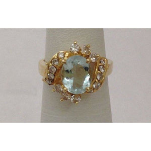 Rings $699.99 Aquamarine Diamond Ring - 14K Yellow Gold Diamond Accents Oval Blue Halo Yg