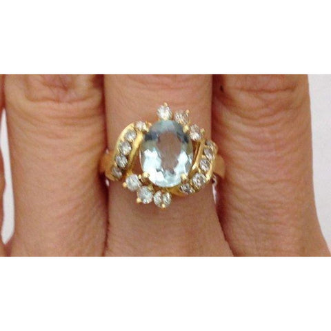 Image of Rings $699.99 Aquamarine Diamond Ring - 14K Yellow Gold Diamond Accents Oval Blue Halo Yg