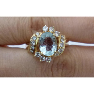 Aquamarine Diamond Ring - 14k Yellow Gold Diamond Accents Oval