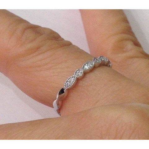 Image of Rings $599.99 Bead And Eye 14K White Gold Wedding Band 2.5Mm - Pave Setting Art Deco Vintage Style Stacking Rings 2.5Mm Band