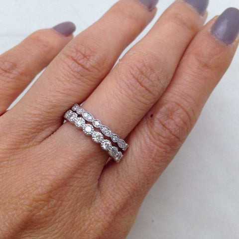 Rings $599.99 Bead And Eye 14K White Gold Wedding Band 2.5Mm - Pave Setting Art Deco Vintage Style Stacking Rings 2.5Mm Band