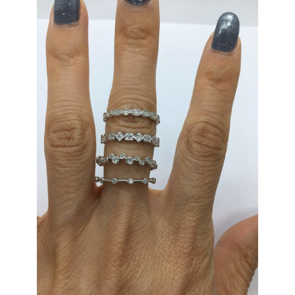 Rings $399.99 Bead And Eye Vintage Milgrain Style Stacking Diamond Ring Band - 14K White Yellow Or Rose Gold Band Rg Yg