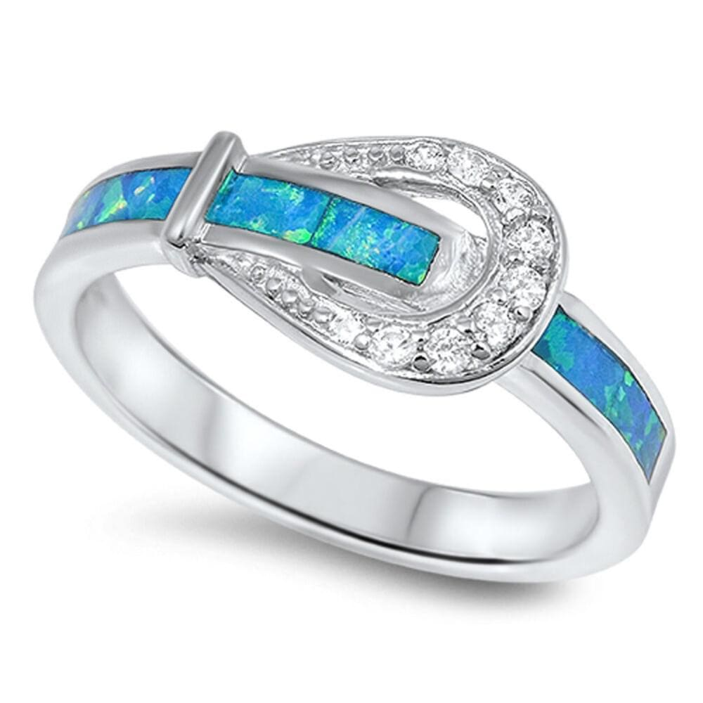 Rings $32.53 Belt Buckle Design with Blue Lab Opal Smooth Inlay and Clear CZ Stones Set in a Sterling Silver Ring blue clear cubic-zirconia