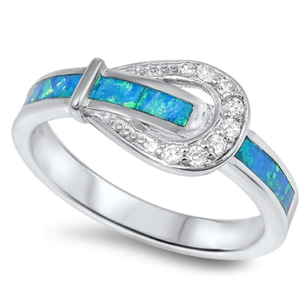 Rings $32.53 Belt Buckle Design with Blue Lab Opal Smooth Inlay and Clear CZ Stones Set in a Sterling Silver Ring 25-50 badge-toprated blue