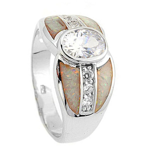 Rings $81.88 Bezel Set Oval Cubic Zirconia with Opal Inlay and CZ Stones Set in Band clear cz opal