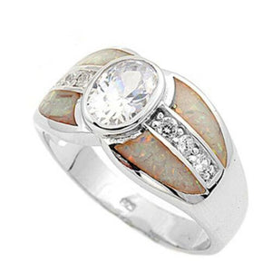 Bezel Set Oval Cubic Zirconia with Opal Inlay and CZ Stones Set in Band