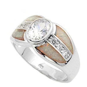 Rings $81.88 Bezel Set Oval Cubic Zirconia with Opal Inlay and CZ Stones Set in Band 50-100 badge-toprated clear cubic-zirconia cz