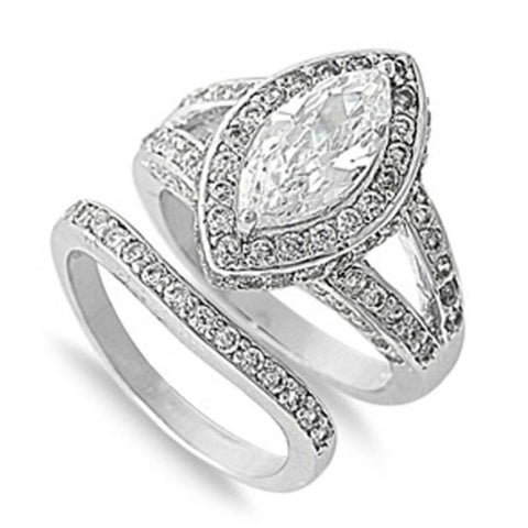 Image of Rings $53.38 Big 1 Carat Marquise Halo Engagement Ring with Matching Band 1-carat 50-100 badge-toprated Bridal Sets cubic-zirconia