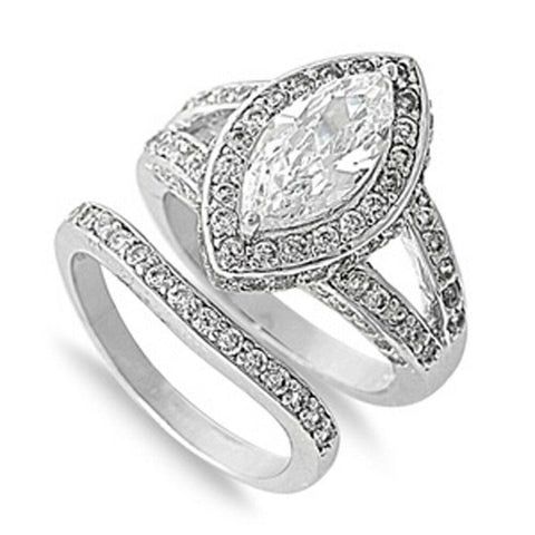 Image of Rings $53.38 Big 1 Carat Marquise Halo Engagement Ring with Matching Band 1-carat Bridal Sets cz er halo