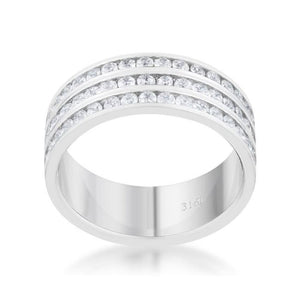 Big 3 Row 1.6ct CZ Rhodium Stainless Steel Eternity Ring JGI