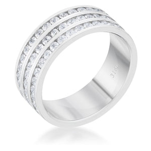 Rings $33.30 Big 3 Row 1.6ct CZ Rhodium Stainless Steel Eternity Ring JGI 1-carat 25-50 7mm band cubic-zirconia