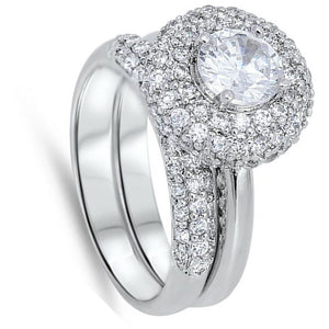 Big Pave Halo Engagement Ring Set Sterling Silver Cubic Zirconia