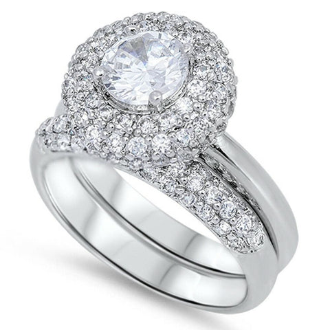 Rings $54.98 Big Pave Halo Engagement Ring Set Sterling Silver Cubic Zirconia Bridal Sets cz er halo