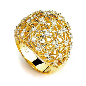 Rings $224.00 Big Sparkle Dome Pave Cubic Zirconia Ring (14K Yellow Gold) By Cz Sparkle Jewelry® Big Formal Occasion