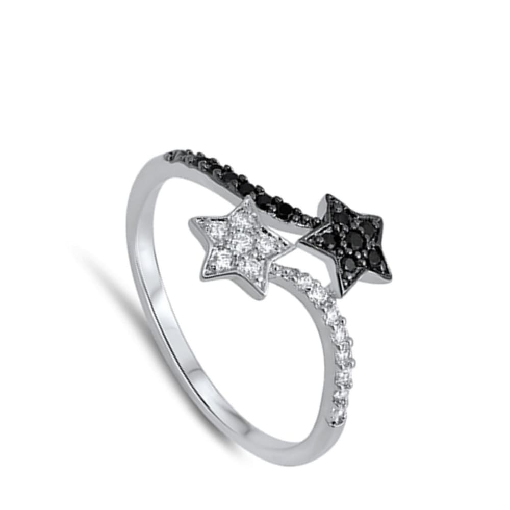 Rings $29.99 Black And White Sterling Silver Double Star Cubic Zirconia Ring Black Cz Star