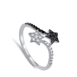 Black and White Sterling Silver Double Star Cubic Zirconia Ring