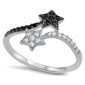 Rings $29.99 Black and White Sterling Silver Double Star Cubic Zirconia Ring 25-50 badge-toprated black color-black cubic-zirconia