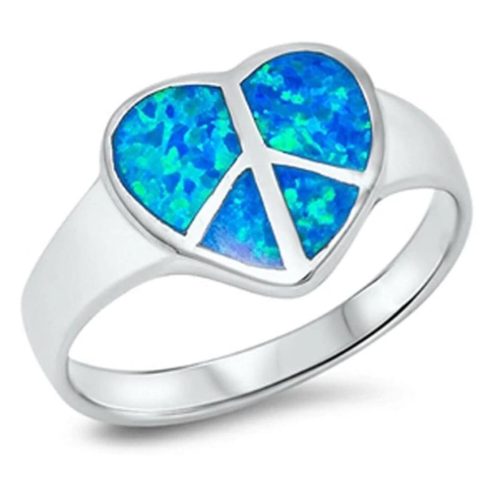 Rings $47.89 Blue Heart Shaped Peace Sign Sterling Silver Lab Opal 25-50 badge-toprated blue heart heart-shaped