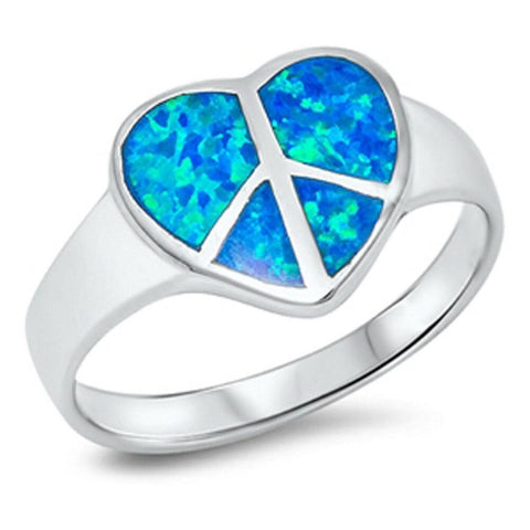 Image of Rings $47.89 Blue Heart Shaped Peace Sign Sterling Silver Lab Opal blue heart opal