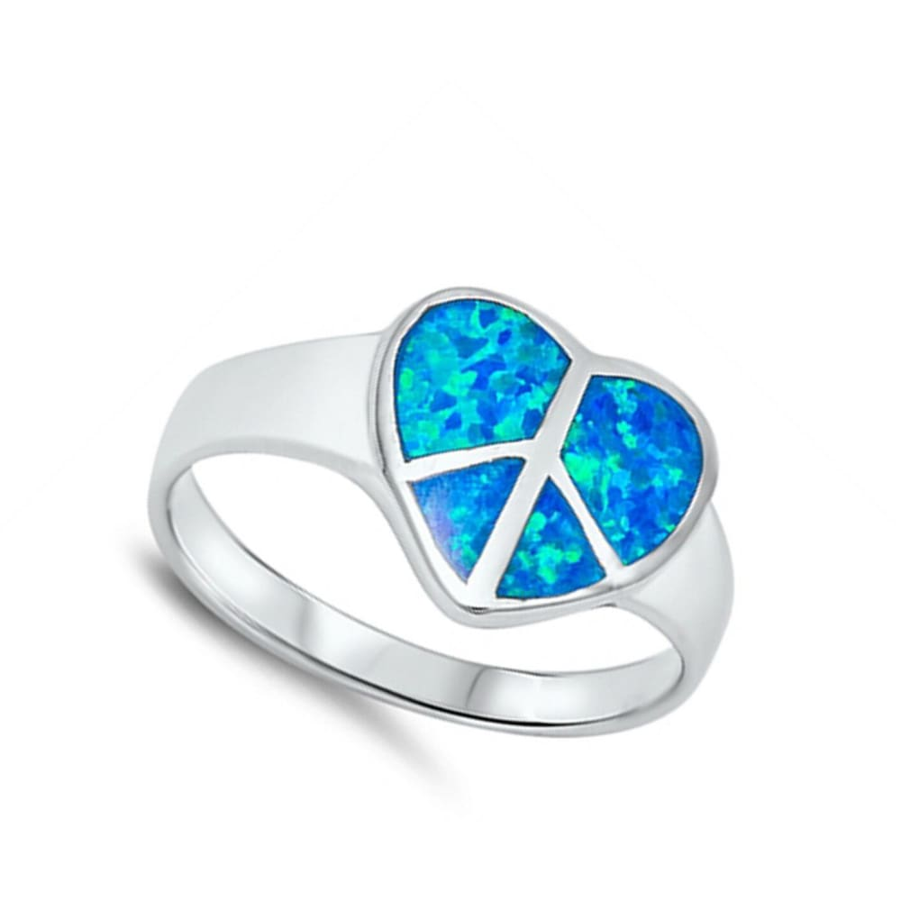 Rings $47.89 Blue Heart Shaped Peace Sign Sterling Silver Lab Opal blue heart opal