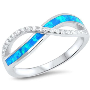 Rings $28.96 Blue Lab Opal and Clear Cubic Zirconia Stones Twisted Infinity Sterling Silver Ring 25-50 badge-toprated blue clear