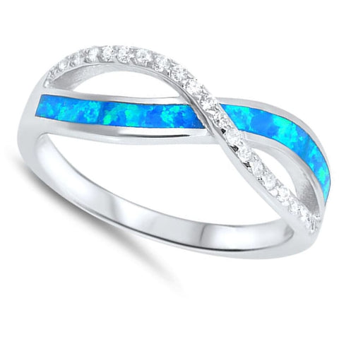 Rings $28.96 Blue Lab Opal and Clear Cubic Zirconia Stones Twisted Infinity Sterling Silver Ring 25-50 badge-performance badge-toprated