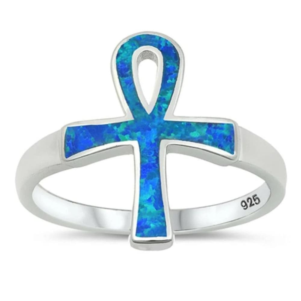 Rings $55.33 Blue Lab Opal Ankh Loop Cross Set in a Wide Band 25-50, badge-toprated, blue, clear, cross