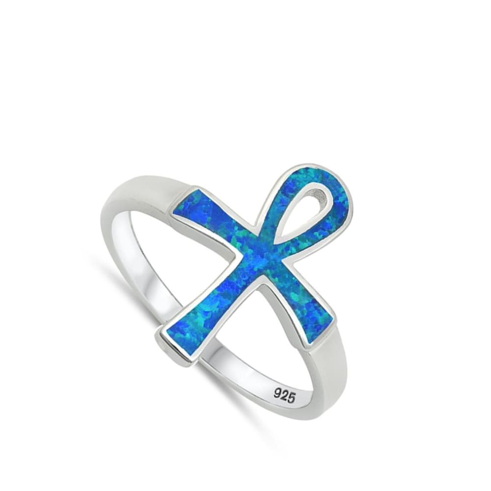 Rings $33.58 Blue Lab Opal Ankh Loop Cross Set in a Wide Band blue clear cross cubic-zirconia cz
