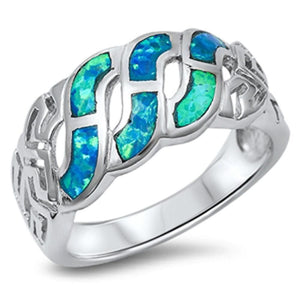 Blue Lab Opal Celtic Knot  Infinity Design in Sterling Silver Band