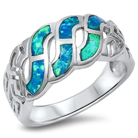 Image of Rings $38.41 Blue Lab Opal Celtic Knot Infinity Design in Sterling Silver Band 25-50 badge-toprated blue celtic-knot infinity