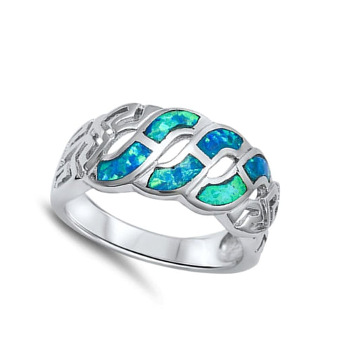 Image of Rings $38.41 Blue Lab Opal Celtic Knot Infinity Design in Sterling Silver Band blue celtic-knot infinity opal