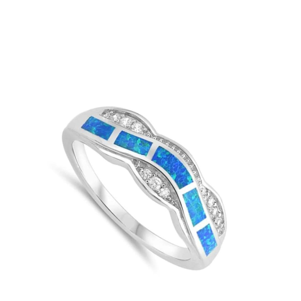 Rings $33.37 Blue Lab Opal Fire Water Wave Ring Design 25-50 badge-toprated blue cubic-zirconia cz