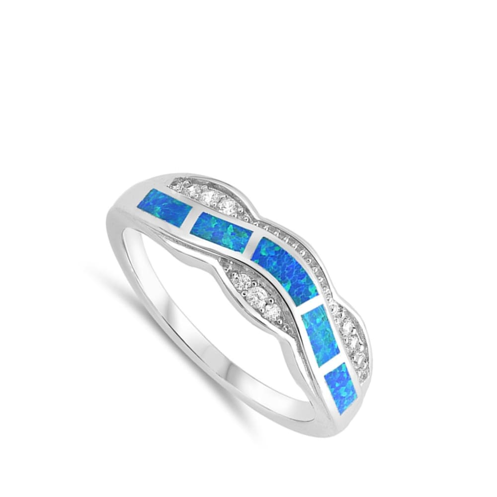 Rings $33.37 Blue Lab Opal Fire Water Wave Ring Design blue cubic-zirconia cz opal