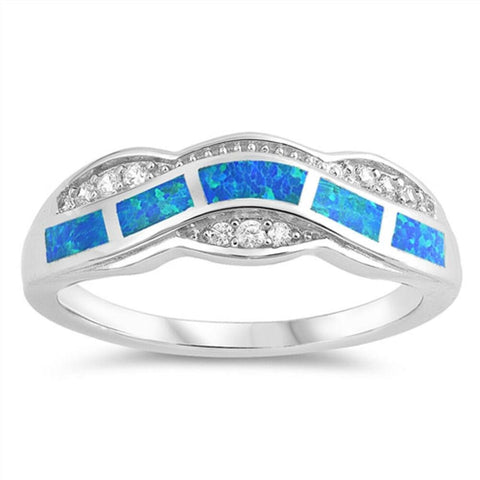 Image of Rings $33.37 Blue Lab Opal Fire Water Wave Ring Design blue cubic-zirconia cz opal
