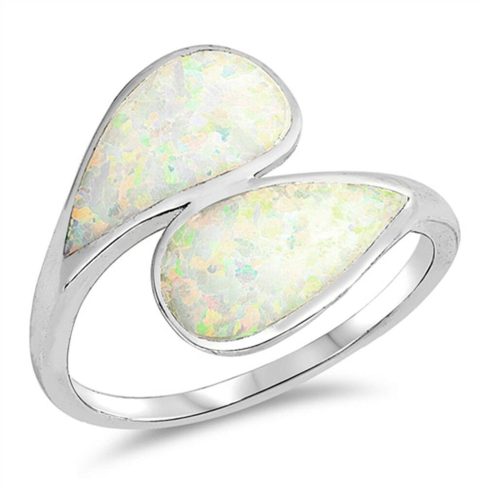 Rings $32.32 Blue Lab Opal in a Double Shank Design Ring opal white