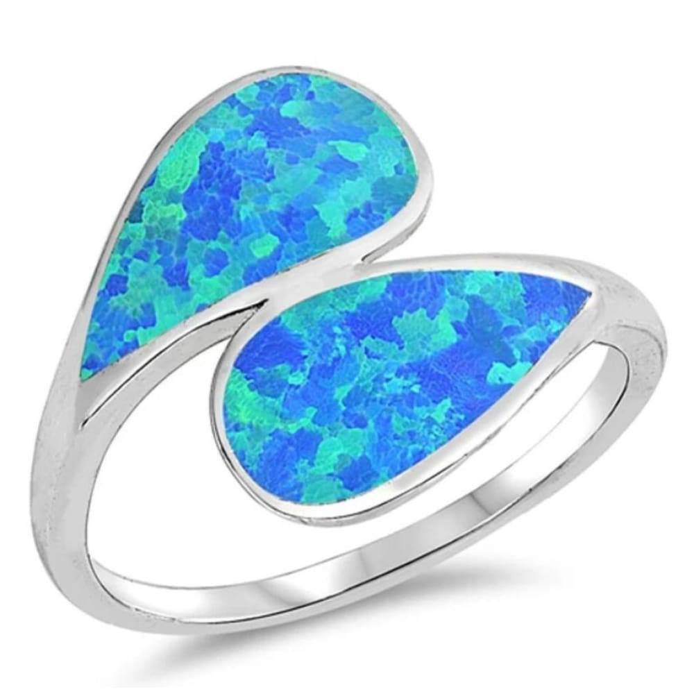 Rings $32.32 Blue Lab Opal in a Double Shank Design Ring 25-50 badge-toprated blue opal rings