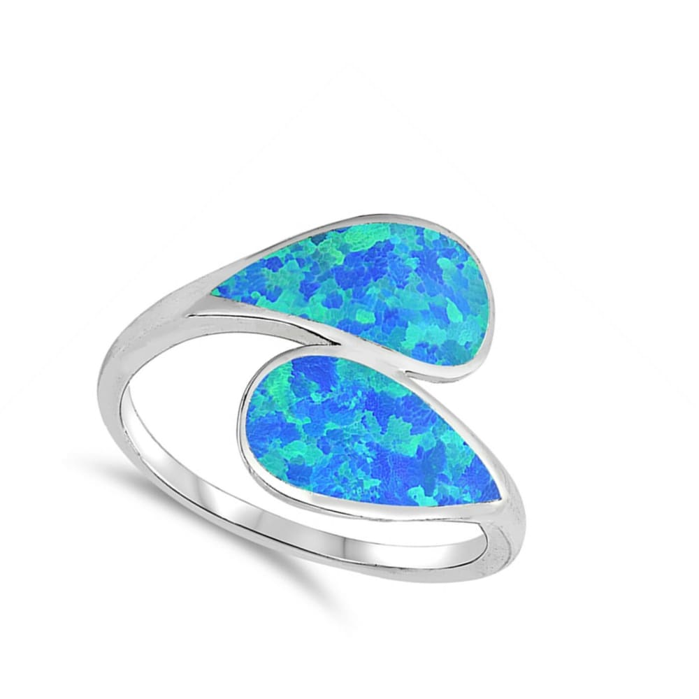 Rings $32.32 Blue Lab Opal in a Double Shank Design Ring blue opal