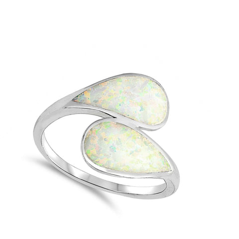 Image of Rings $32.32 Blue Lab Opal in a Double Shank Design Ring opal white